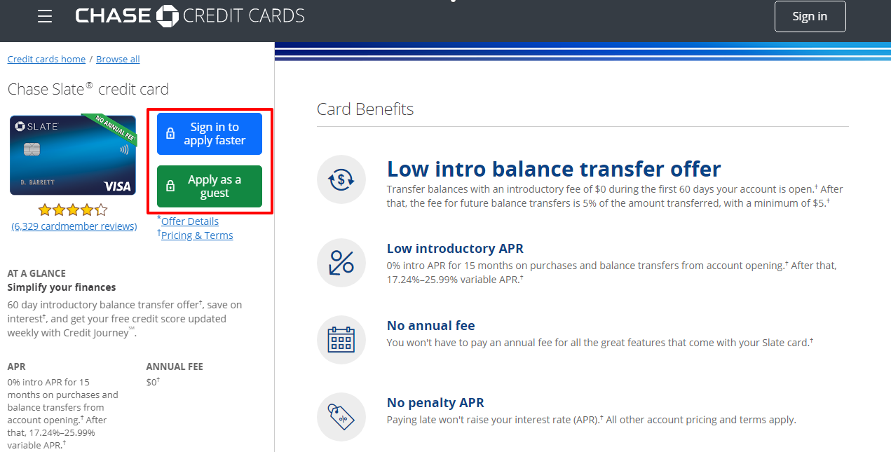 Apply for Chase Slate Credit Card