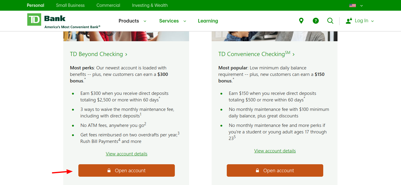 TD-Bank-Personal-Checking-Accounts-open