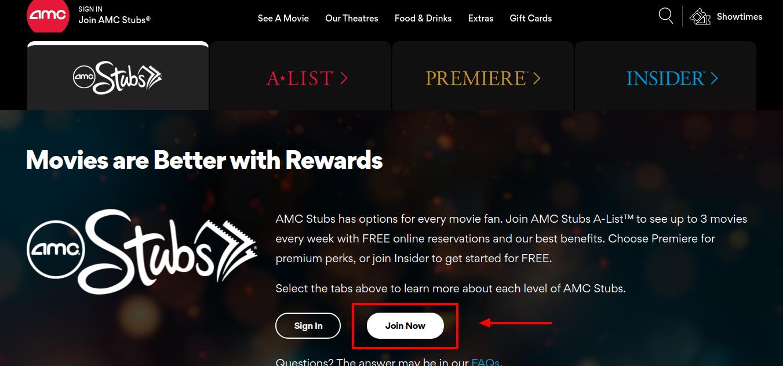 AMC Stubs Join