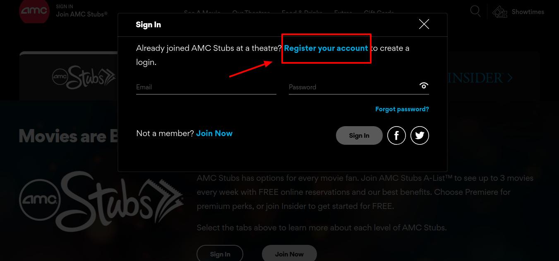 AMC Stubs Register