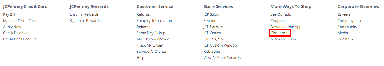 Check Your JCPenney Gift Card Balance