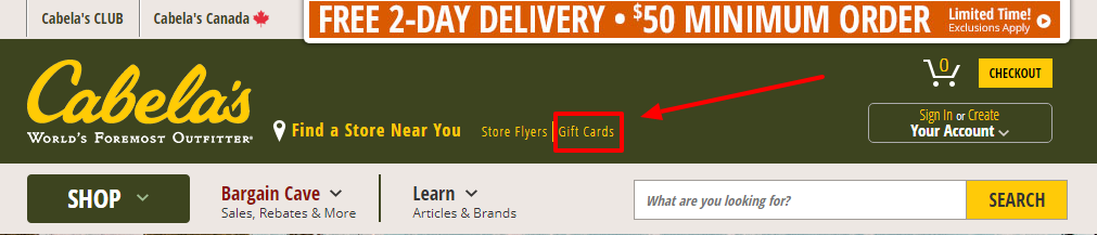 Check the gift card balance of Cabela's
