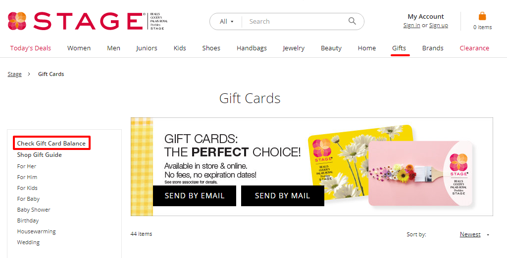 How to check Peebles gift cards balance