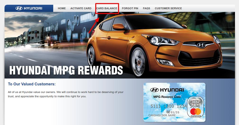 Hyundai Reward Card Balance