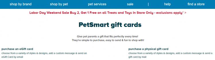 PetSmart Gift Card Balance