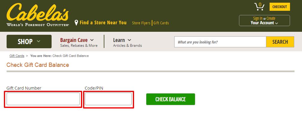 gift card balance of Cabela's