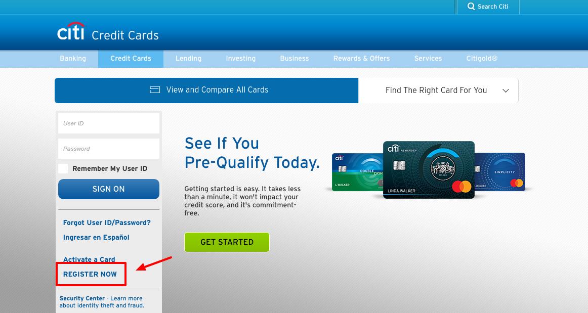 Citi Credit Cards Register