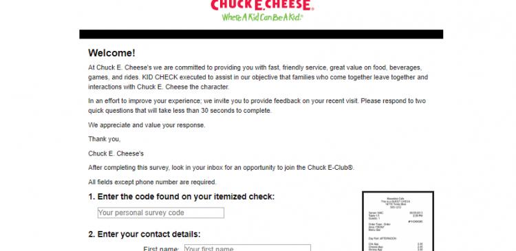 Chuck E Cheese s Survey