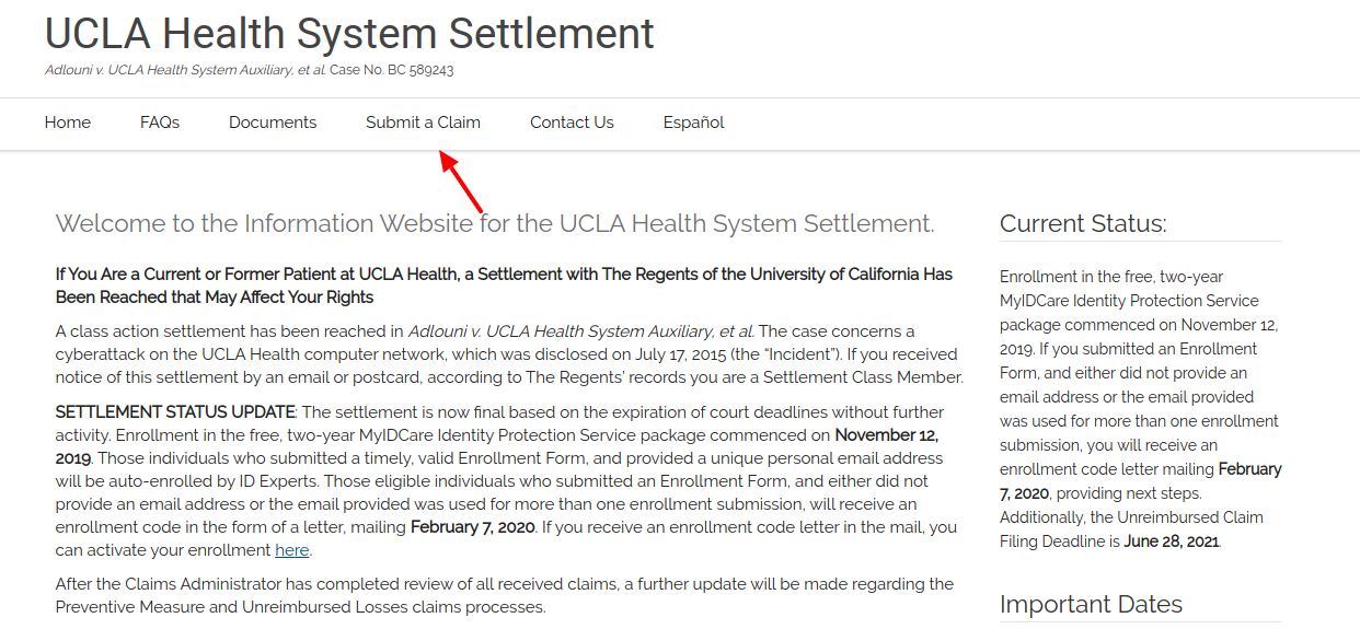 UCLA Health Systems Settlement Claim Submit