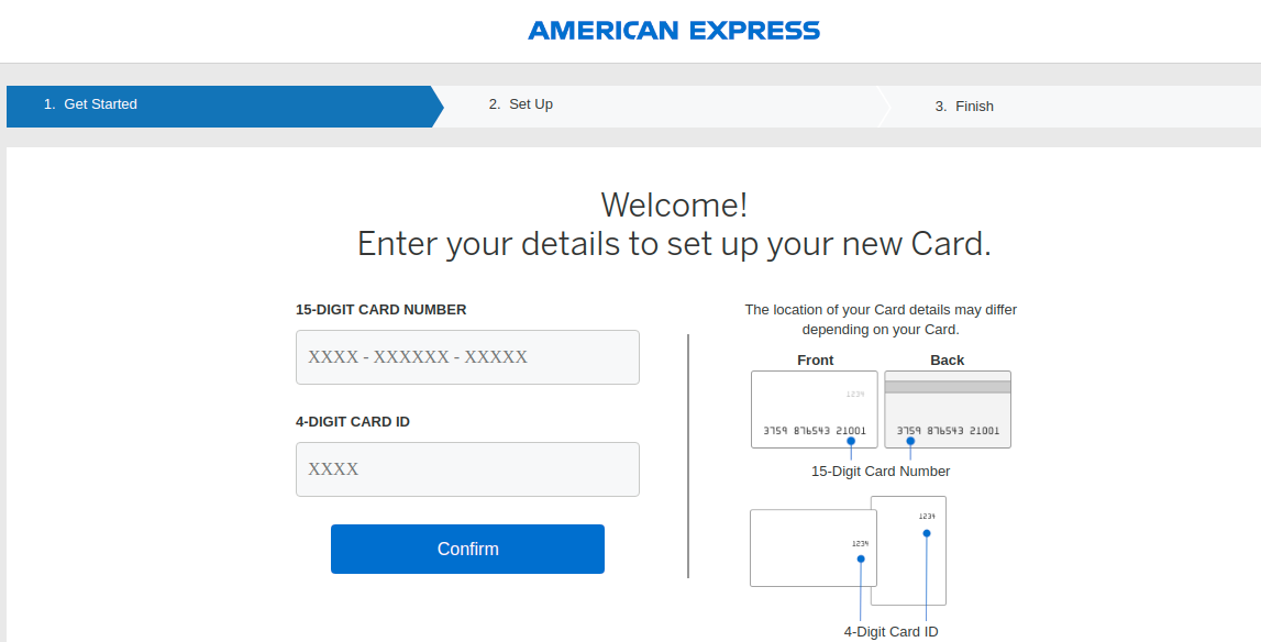 American Express Card Set Up