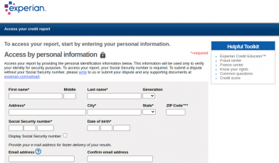 Experian Access your credit report