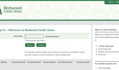 redwood credit union login
