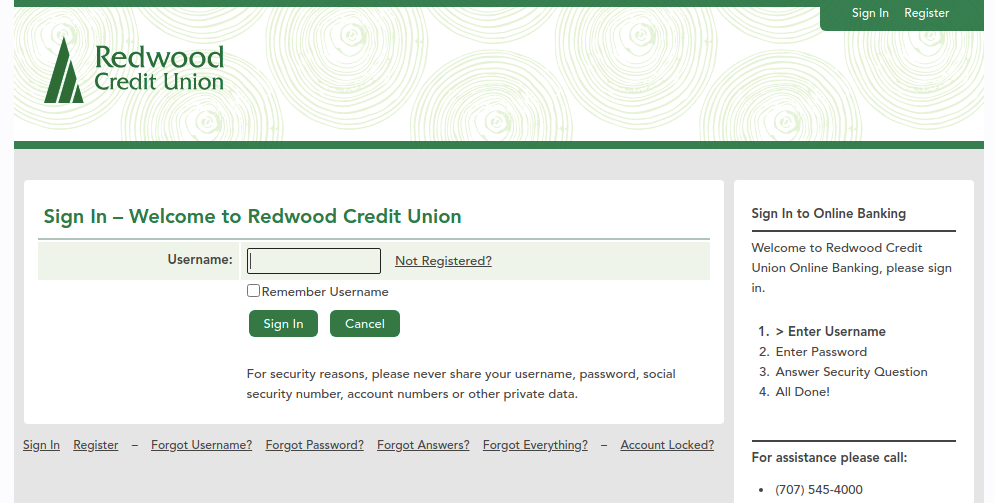 redwood credit union login