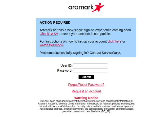 Aramark net Login