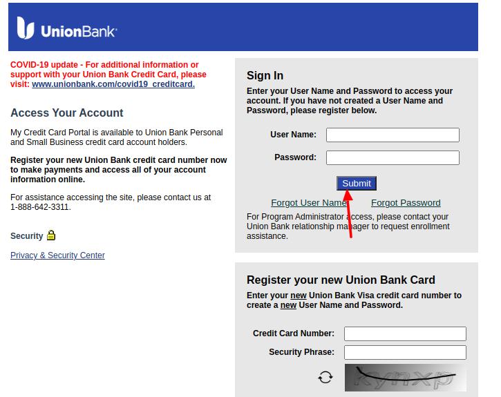 Union Bank Visa Login